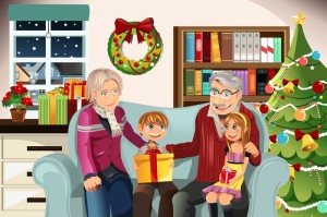 Grandparents with their grandkids at Christmas time giving them presents