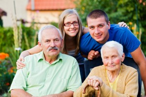 Picture of one family but many different age groups