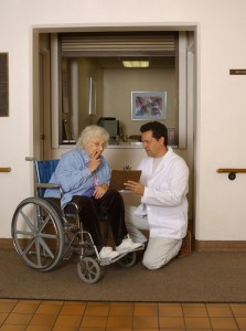 Patient in a wheelchair in a skilled nursing facility
