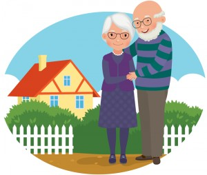 Retired Couple Standing In Front of a House