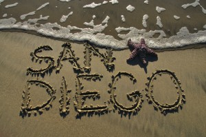 San Diego Written In Beach Sand