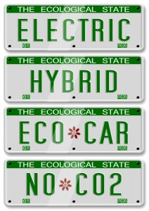 Car license plates that say hybrid, eco car, electric, and no co2