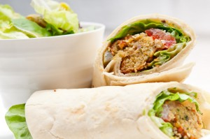 Hummus Wrap Sandwich with a nice side salad