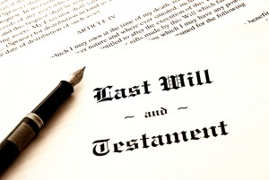 Last Will Document with a pen