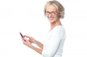 Older woman using a tablet computer