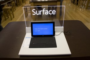 Microsoft Surface tablet on display at the retail store