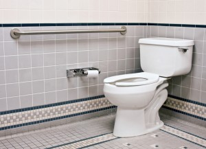 Bathroom with handicapped toilet area and grab bars