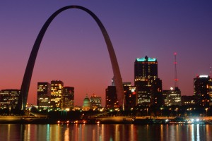 Gateway Arch in St. Louis taken aboard a Mississippi River Boat on a cruise