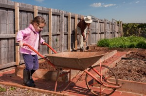 Granchild and her grandpa working in the garden