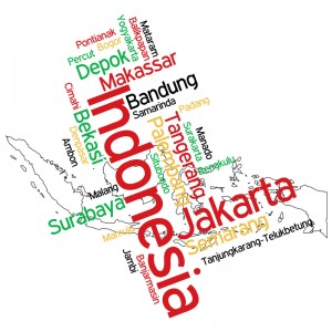 Cities in Indonesia including Jakarta, Bandung, Surabaya, Depok and others