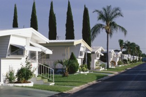 Row of mobile homes in a park