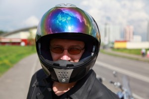 Older man with his motorcycle helmet on
