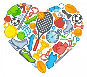 Graphic heart that shows different sports like skating, tennis, ping pong, baseball, soccer and more