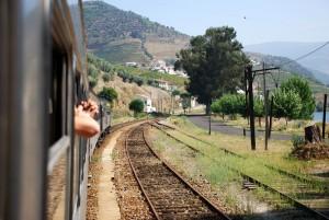 Passengers enjoying a train ride vacation trip