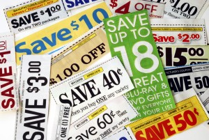 Newspaper coupons used to save money at the grocery store