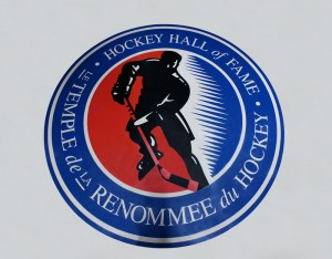 The Hockey Hall of Fame logo that is located in Canada