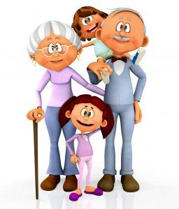 Older grandparents with their grandkids nearby