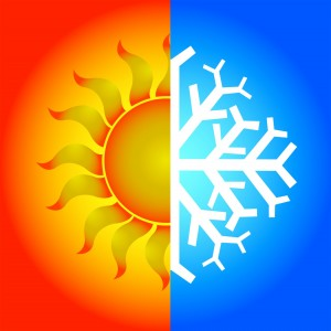 On one side a burning hot sun and the other a freezing cold snowflake