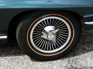 Picture of a tire and rim from an old Corvette Stingray